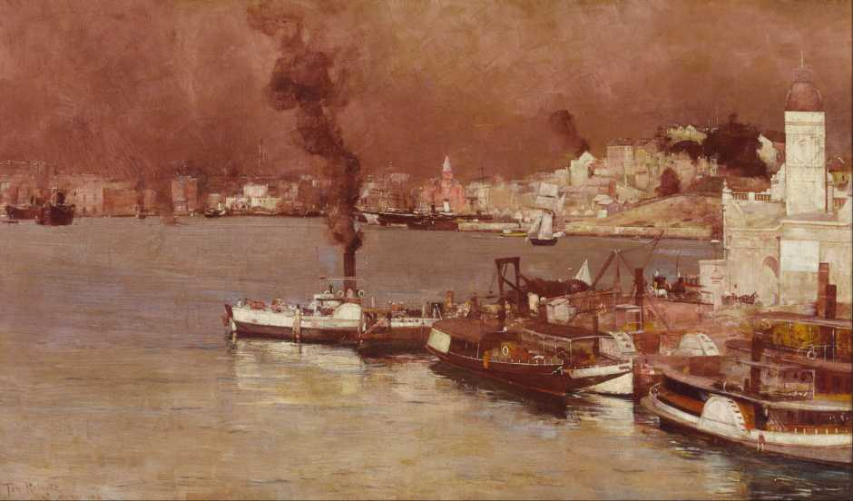 Tom Roberts, An Autumn Morning, Milson's Point, Sydney (1888), oil on canvas, 65.3 x 96 cm, Art Gallery of New South Wales, Sydney. Wikimedia Commons.