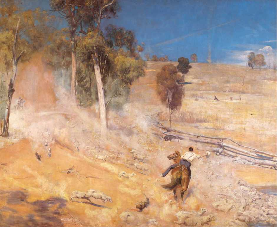 Tom Roberts, A Break Away! (1891), oil on canvas, 137.3 x 167.8 cm, Art Gallery of South Australia, Adelaide. Wikimedia Commons.