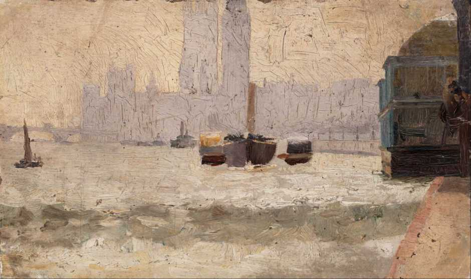 Tom Roberts, Fog, Thames Embankment (1884), oil on paperboard, 31.6 x 46 cm, Art Gallery of New South Wales, Sydney. Wikimedia Commons.
