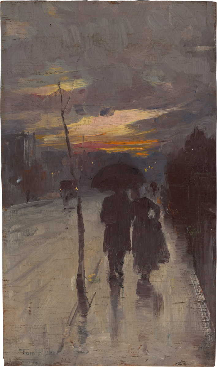 Tom Roberts, Going Home (c 1889), oil on wood panel, 23.4 x 13.6 cm, National Gallery of Australia, Parkes, ACT. Wikimedia Commons.