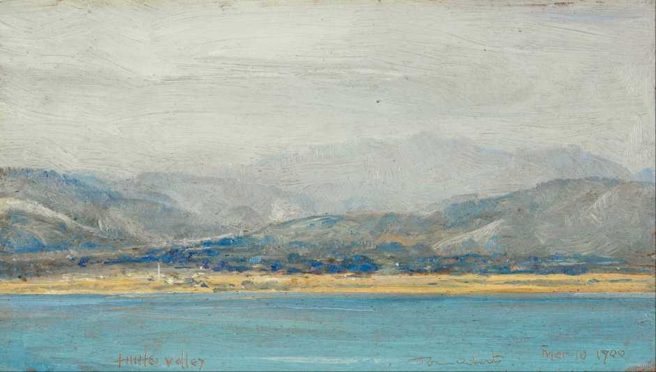 Tom Roberts, Hutt Valley (1900), oil on panel, 10.3 x 19.1 cm, The Museum of New Zealand Te Papa Tongarewa, Wellington, NZ. Wikimedia Commons.