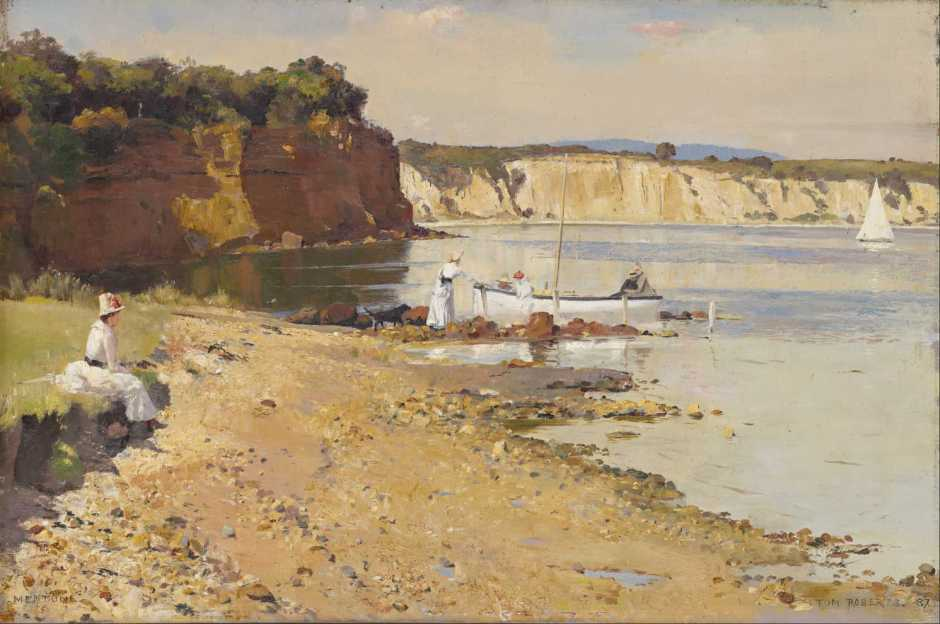 Tom Roberts, Slumbering Sea, Mentone (1887), oil on canvas, 51.3 x 76.5 cm, National Gallery of Victoria, Melbourne. Wikimedia Commons.