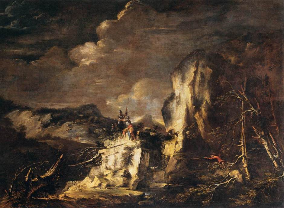 Salvator Rosa, Rocky Landscape with a Huntsman and Warriors (c 1670), oil on canvas, 142 x 192 cm, Musée du Louvre, Paris. Wikimedia Commons.