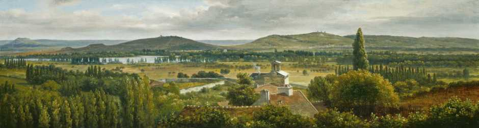 Théodore Rousseau, Vue panoramique sur l'Île-de-France (Panoramic View of the Ile-de-France) (c 1830), oil on canvas, 22.1 x 75.9 cm, The National Gallery of Art, Washington, DC. Courtesy National Gallery of Art, via Wikimedia Commons.
