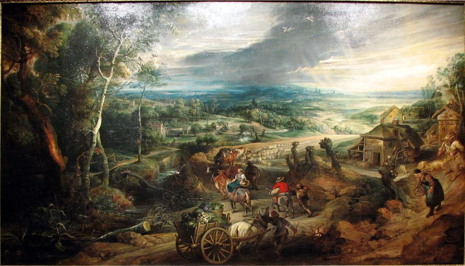 Peter Paul Rubens, Summer: Peasants going to Market (c 1618), oil on canvas, 143.4 x 222.9 cm, The Royal Collection, Buckingham Palace, London. Wikimedia Commons.