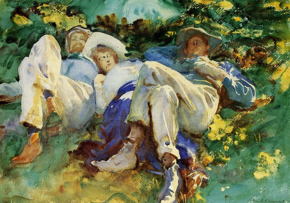 John Singer Sargent, Siesta (1905), watercolour, gouache and pencil on paper, dimensions not known, Private collection. WikiArt.