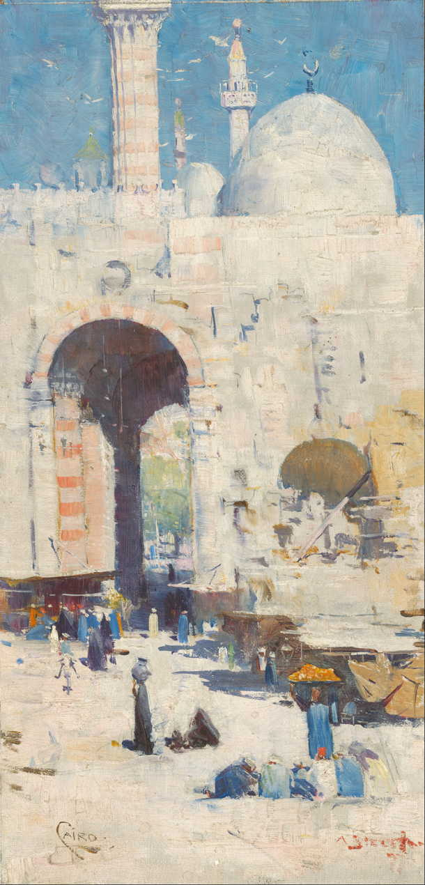 Arthur Streeton, Cairo Street (Mosque, Sultan Hassan) (1897), oil on canvas on paperboard, 33.4 x 17.1 cm, National Gallery of Australia, Parkes, ACT. Wikimedia Commons.