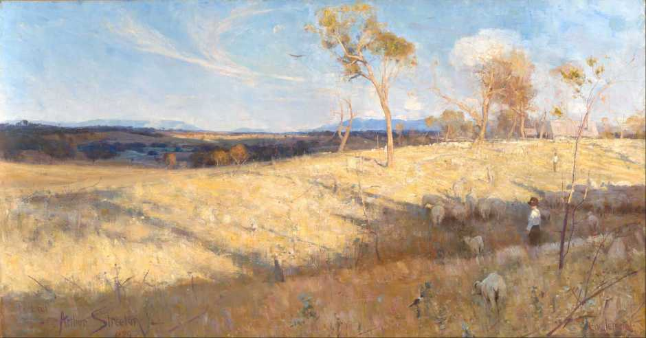 Arthur Streeton, Golden Summer, Eaglemont (1889), oil on canvas, 81.3 x 152.6 cm, National Gallery of Australia, Parkes, ACT. Wikimedia Commons.