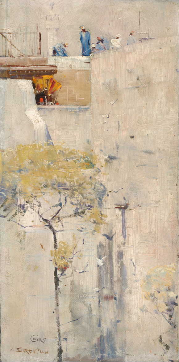 Arthur Streeton, (House Builders, Cairo) (c 1897), oil on canvas on paperboard, 24.2 x 13.3 cm, National Gallery of Australia, Parkes, ACT. Wikimedia Commons.