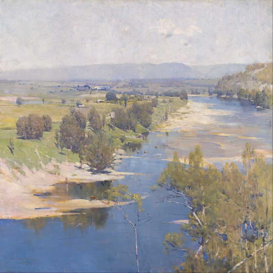 Arthur Streeton, The Purple Noon's Transparent Might (1896), oil on canvas, 123 x 123 cm, National Gallery of Victoria, Melbourne. Wikimedia Commons.