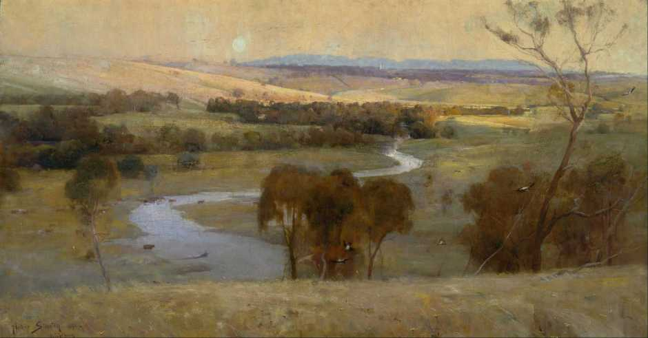 Arthur Streeton, Still Glides the Stream, and Shall for Ever Glide (1890), oil on canvas, 116 x 188.5 cm, Art Gallery of New South Wales, Sydney. Wikimedia Commons.