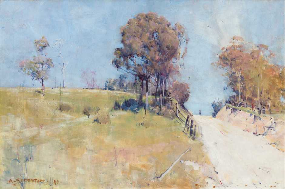 Arthur Streeton, Sunlight (Cutting on a Hot Road) (1895), oil on canvas, 30.5 x 45.8 cm, National Gallery of Australia, Parkes, ACT. Wikimedia Commons.