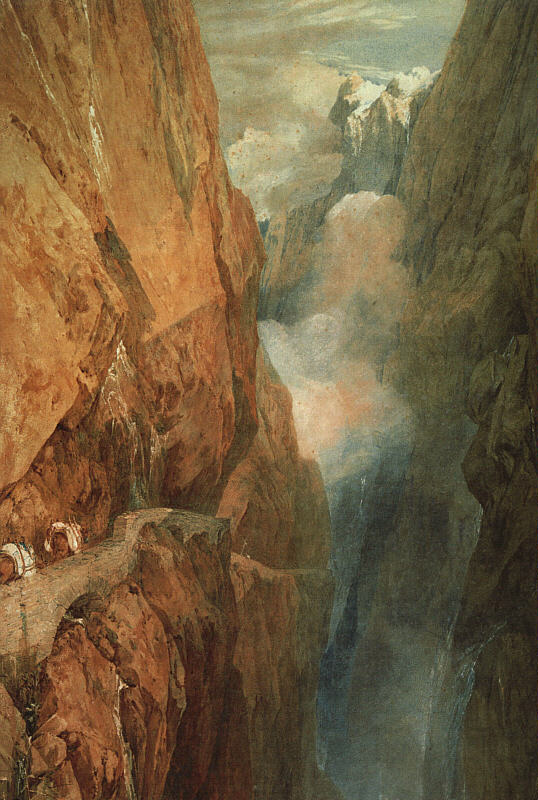 Joseph Mallord William Turner, The Passage of Mount St Gothard. Taken from the Centre of the Teufels Broch (Devil's Bridge), Switzerland (1804), watercolour and scraping out on paper, 98.9 x 68.6 cm, Abbot Hall Art Gallery, Kendal, Cumbria, England. WikiArt.