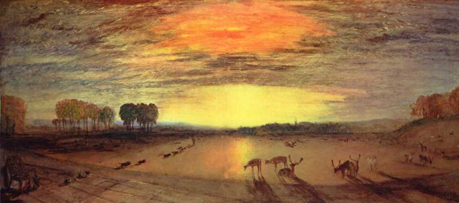 JMW Turner, Petworth Park: Tillington Church in the Distance (c 1828), oil on canvas, 60 x 145.7 cm, The Tate Gallery, London. Wikimedia Commons.