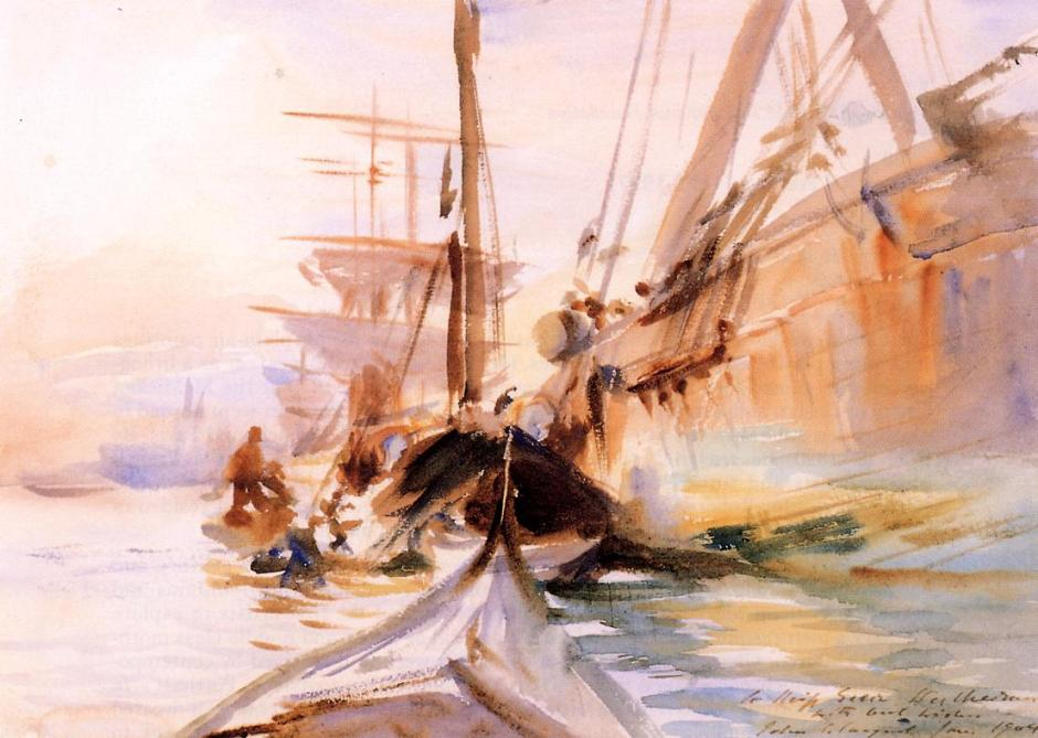 John Singer Sargent, Unloading Boats in Venice (1904), watercolour on paper, 25.4 x 35.3 cm, Private collection. WikiArt.