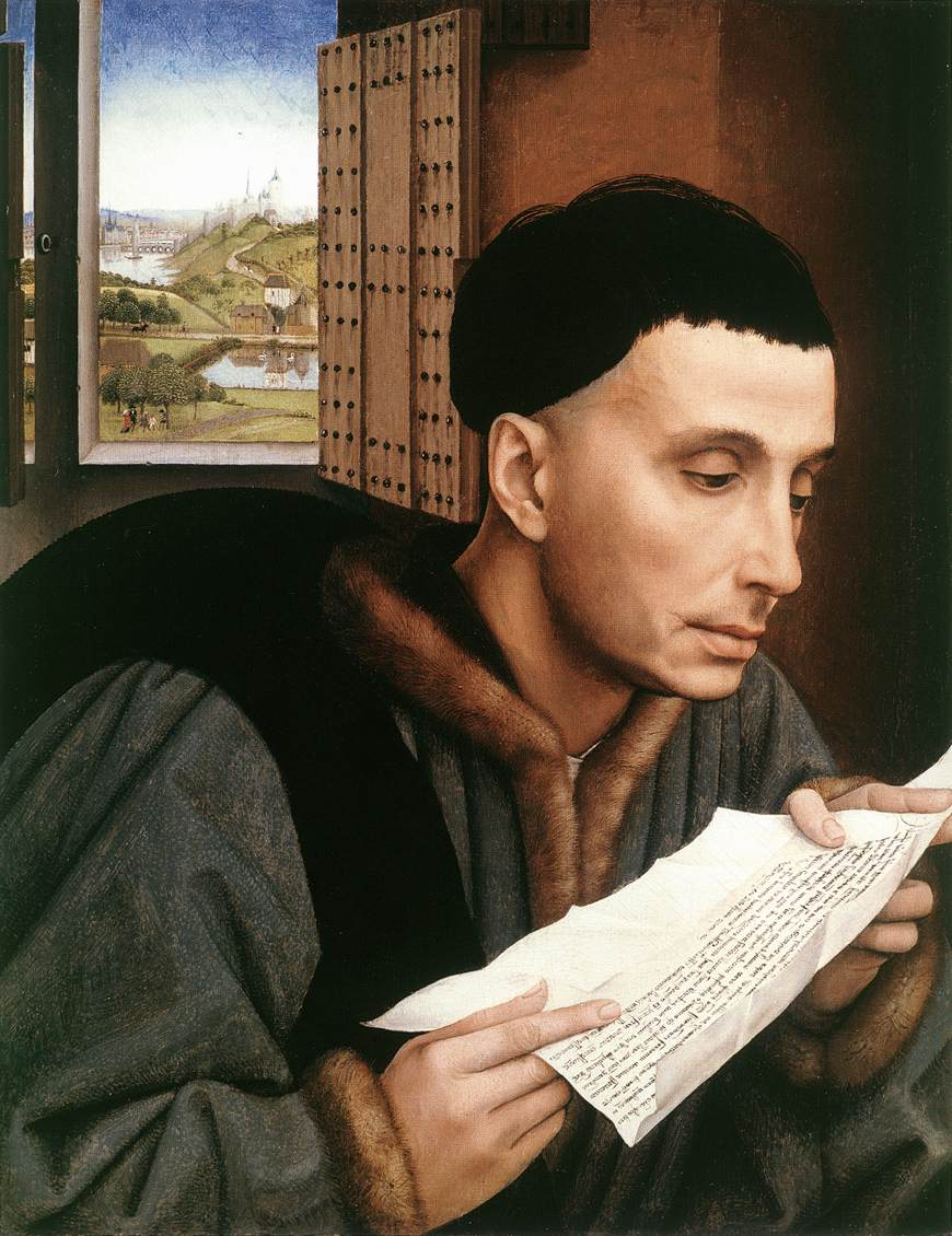 Rogier van der Weyden, Saint Ivo (Portrait of a Man Reading) (1450), oil on panel, 45 x 35 cm, The National Gallery, London. WikiArt.