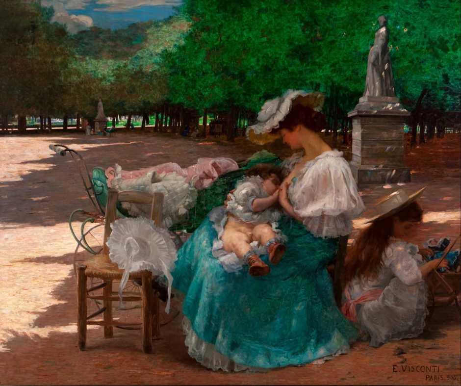 Eliseu Visconti, Maternity (1906), oil on canvas, 165 x 200 cm, Pinacoteca do Estado de São Paulo, São Paulo, Brazil. Halley Pacheco de Oliveira derivative work: Jbarta, via Wikimedia Commons.