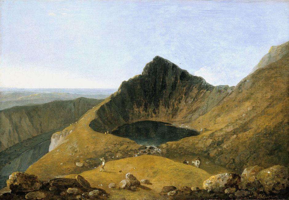 Richard Wilson, Llyn-y-Cau, Cader Idris (c 1774), oil on canvas, 51.1 x 73 cm, The Tate Gallery, London. Wikimedia Commons.