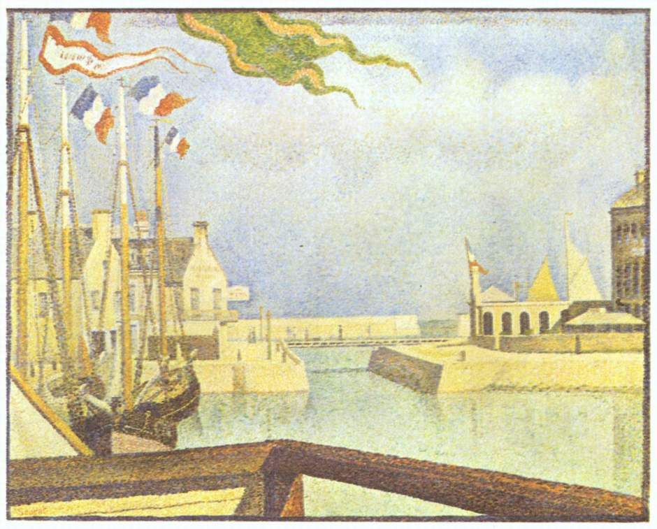 Georges Seurat, Port-en-Bessin, A Sunday (1888), oil on canvas, 66 x 82 cm, Kröller-Müller Museum, Otterlo. Wikimedia Commons.