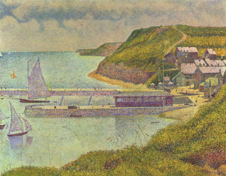 Georges Seurat, Port-en-Bessin, Outer Harbour (High Tide) (1888), oil on canvas, 67 x 82 cm, Musée d'Orsay, Paris. Wikimedia Commons.
