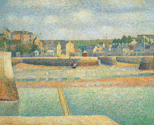 Georges Seurat, Port-en-Bessin, Outer Harbour (Low Tide) (1888), oil on canvas, 54.3 x 66.7 cm, Saint Louis Art Museum, Saint Louis, MO. Wikimedia Commons.