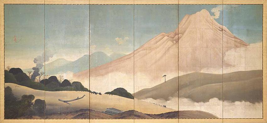 Aōdō Denzen (1748-1822), Mount Asama Screen (Edo, 1804-1818), oil on paper, 149 x 342.4 cm, Tokyo National Museum, Tokyo. Wikimedia Commons.