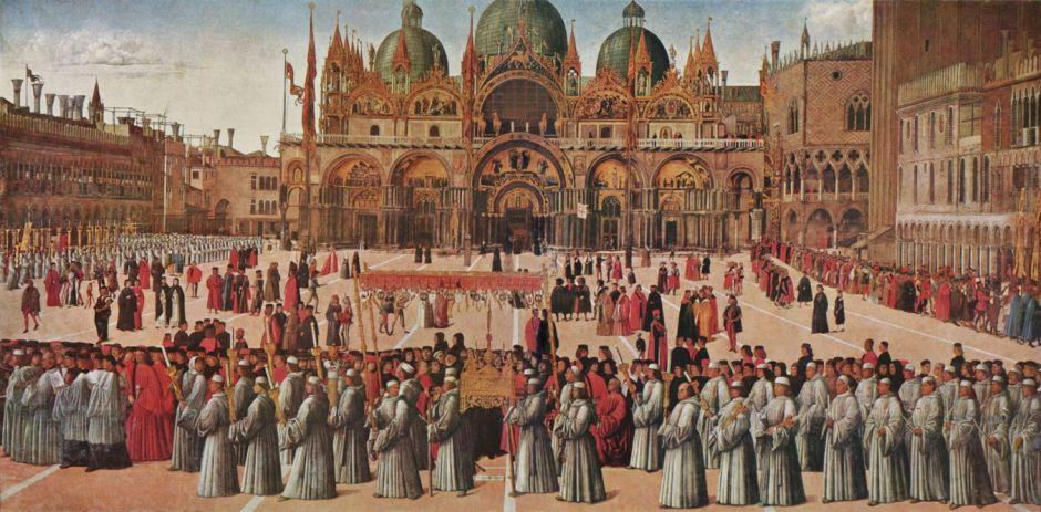 Gentile Bellini (1429–1507), Procession of the True Cross in Saint Mark's Square, Venice (1496), oil on canvas, 367 × 745 cm, Galleria dell'Accademia, Venice. Wikimedia Commons.