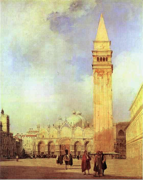 Richard Parkes Bonington (1802-28), Venice: The Piazza San Marco (1827-8), oil on canvas, 99.4 x 80.3 cm, Wallace Collection, London. WikiArt.
