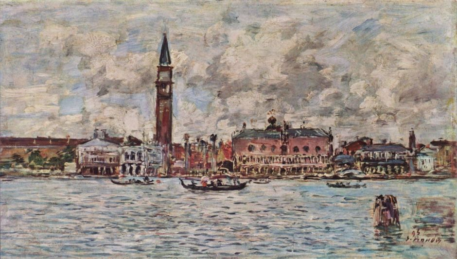 Eugene Boudin (1824-98), Piazzetta San Marco in Venice (1895), oil on canvas, 21 x 38 cm, Private collection. WikiArt.