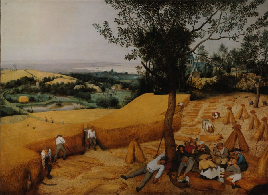 Pieter Bruegel the Elder, The Harvesters (1565), oil on panel, 119 x 162 cm, Metropolitan Museum of Art, New York, NY. Wikimedia Commons.