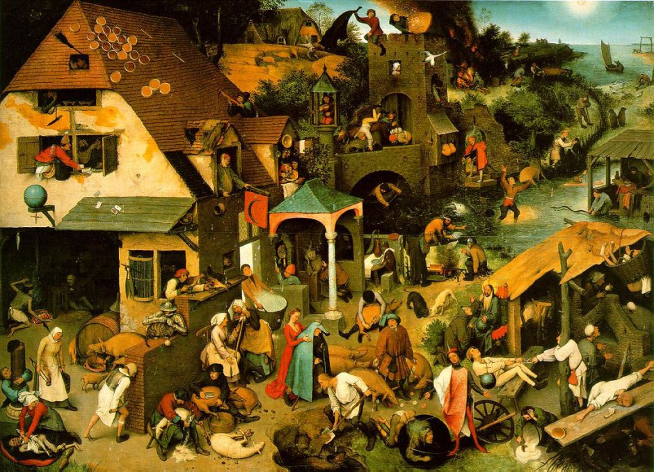 Pieter Bruegel the Elder, Dutch Proverbs (1559), oil on oak wood, 117 x 163 cm, Gemäldegalerie, Berlin. Wikimedia Commons.