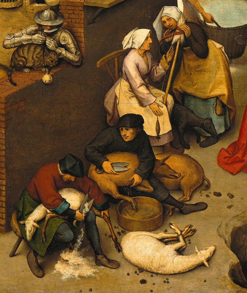 Pieter Bruegel the Elder, Dutch Proverbs (detail) (1559), oil on oak wood, 117 x 163 cm, Gemäldegalerie, Berlin. Wikimedia Commons.