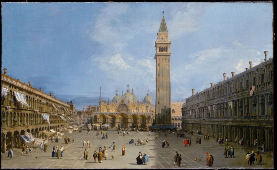 Canaletto, Piazza San Marco (1720), oil on canvas, 68.6 x 112.4 cm, Metropolitan Museum of Art, New York, NY. Wikimedia Commons.