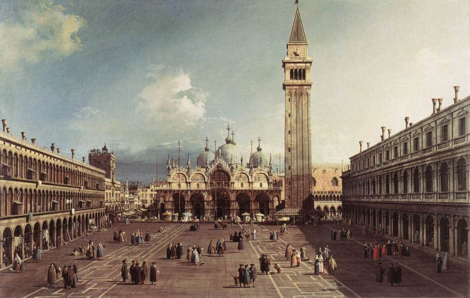 Canaletto (Giovanni Antonio Canal) (1697–1768), Piazza San Marco with the Basilica, Venice (c 1730), oil on canvas, 76 x 114.5 cm, Fogg Museum, Cambridge, MA. Wikimedia Commons.