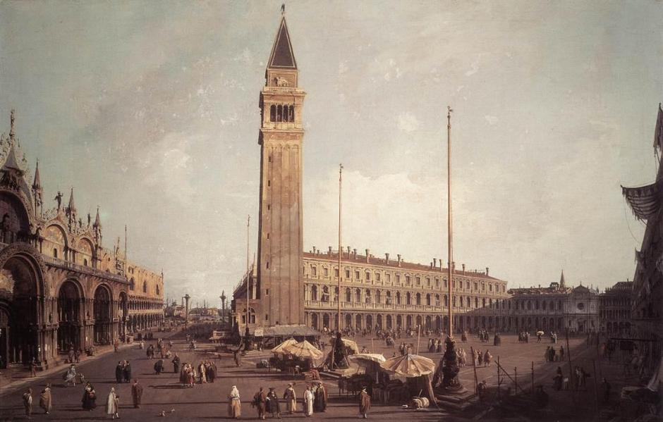 Canaletto, Piazza San Marco: Looking South-West (1755-9), oil on canvas, 67.3 x 102 cm, Wadsworth Atheneum, Hartford, CT. Wikimedia Commons.