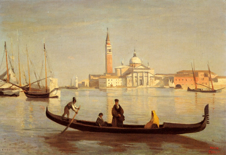 Jean-Baptiste-Camille Corot (1796-1875), Venice: Gondola on the Grand Canal (c 1835), oil on canvas, 41.3 x 29.2 cm, Private collection. WikiArt.