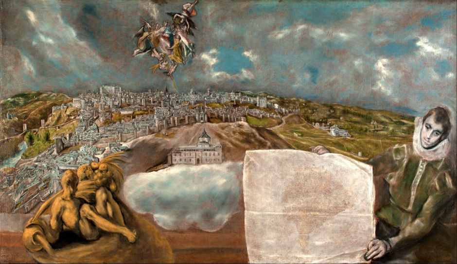 El Greco (Doménikos Theotokópoulos), View and Plan of Toledo (1610-4), oil on canvas, 132 x 228 cm, Museo del Greco, Toledo. Wikimedia Commons.