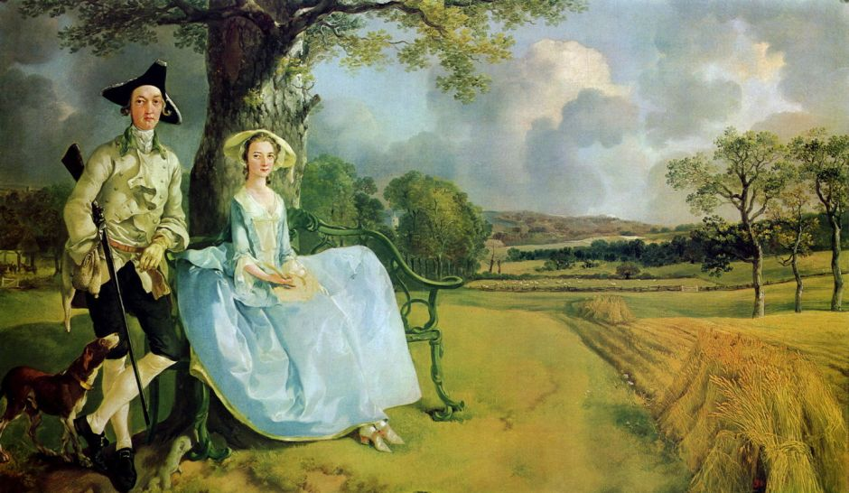 Thomas Gainsborough, Mr and Mrs Andrews (1749), oil on canvas, 69.8 x 119.4 cm, The National Gallery, London. WikiArt.