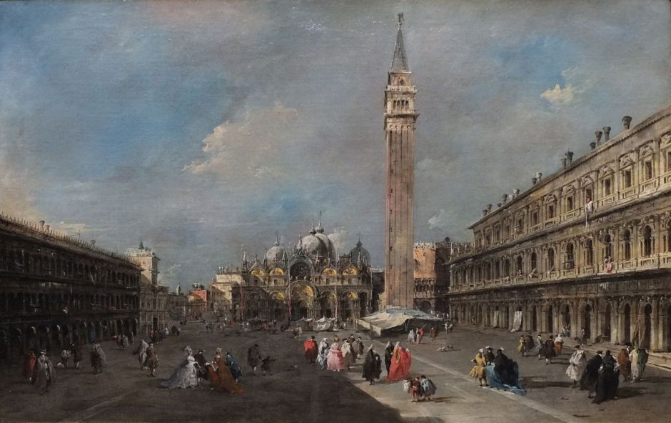 Francesco Guardi (1712-1793), The Piazza San Marco, Venice (c 1775), oil on canvas, 55.2 x 85.4 cm, Scottish National Gallery, Edinburgh. By Ad Meskens, via Wikimedia Commons.