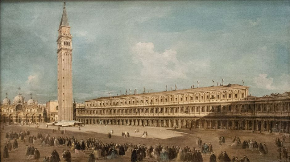 Francesco Guardi, Piazza San Marco in Venice (c 1770), oil on canvas, 50 x 85 cm, Nationalmuseum, Stockholm. Photo by Szilas, via Wikimedia Commons.