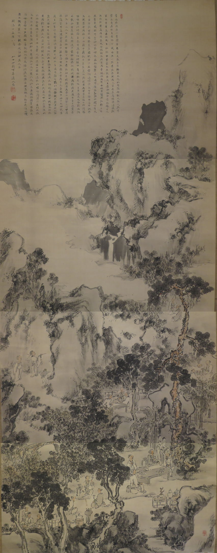 Hagura Katei, Elegant Gathering in the Western Garden (Meji, 1882), ink and light color on silk, dimensions not known, Honolulu Museum of Art. Wikimedia Commons.