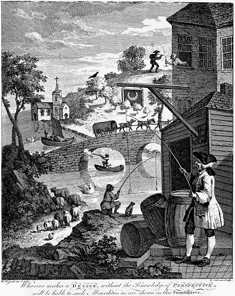 William Hogarth, Satire on False Perspective (1753), engraving for JJ Kirby's pamphlet on the subject. Wikimedia Commons.