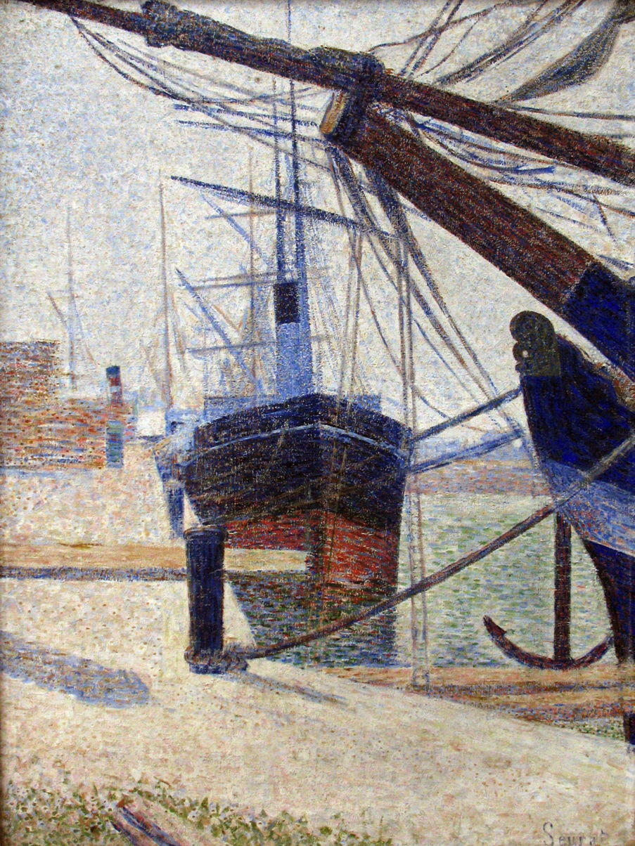 Georges Seurat, Corner of a Basin, Honfleur (1886), oil on canvas, 79.5 x 63 cm, Kröller-Müller Museum, Otterlo. Wikimedia Commons.