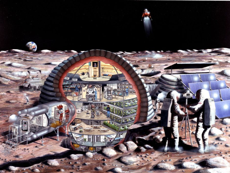 NASA, Kitmacher, Ciccora artists, Inflatable Module for Lunar Base (1989), media not known. By NASA, Kitmacher, Ciccora artists (S89-20084), via Wikimedia Commons