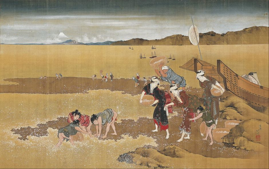 Katsushika Hokusai (葛飾北斎) (1760–1849), Shell Gathering (Edo, 1800-49), colour on silk, 54.3 x 86.3 cm, Osaka City Museum of Fine Arts, Osaka. Wikimedia Commons.
