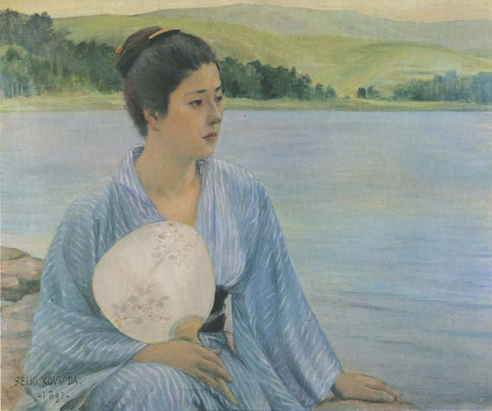 Kuroda Seiki (黒田 清輝) (1866–1924), Lakeside (湖畔) (1897), oil on canvas, 69 × 84.7 cm, Kuroda Memorial Hall (黒田記念館), Tokyo. Wikimedia Commons.