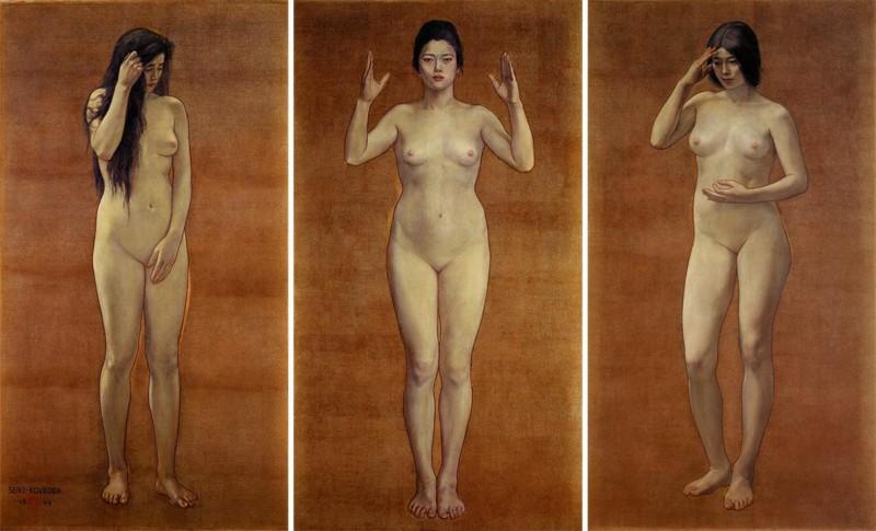 Kuroda Seiki (黒田 清輝) (1866–1924), Triptych: Wisdom Impression Sentiment (before 1898), oil, other details not known, Kuroda Memorial Hall (黒田記念館), Tokyo. Wikimedia Commons.