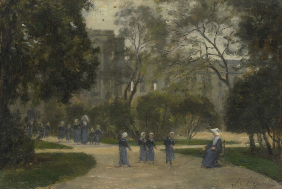 Stanislas Lépine (1835–1892), Nuns and Schoolgirls in the Tuileries Gardens, Paris (1871-3), oil on panel, 15.7 x 23.7 cm, The National Gallery, London. Courtesy of National Gallery (CC), via Wikimedia Commons.