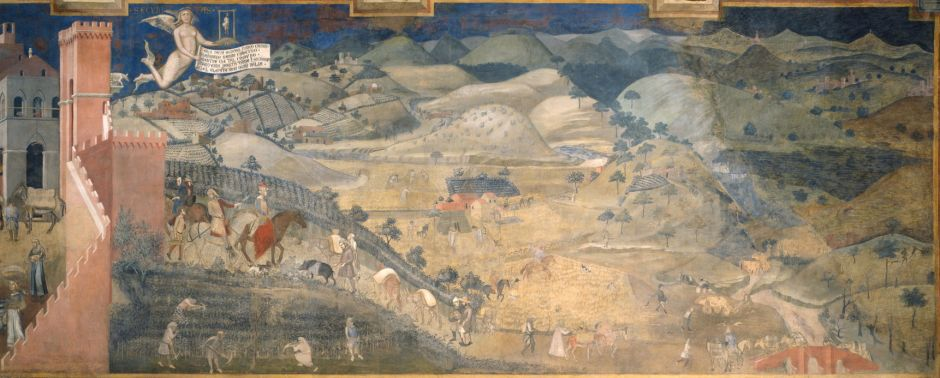 Ambrogio Lorenzetti (1285–1348), Effects of Good Government in the countryside (1338 - 1339), fresco, dimensions not known, Fondazione Musei Senesi, X. Wikimedia Commons.