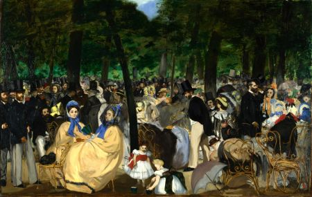 Édouard Manet (1832–1883), Music in the Tuileries (1862), oil on canvas, 76.2 × 118.1 cm, The National Gallery, London, and the Hugh Lane, Dublin. Courtesy of National Gallery (CC), via Wikimedia Commons.